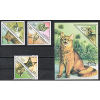 Кошки Того 1999 год серия из 6 марок в сцепке и 1 блока