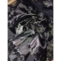 Шаль шарфик 180 см х 25 см  цвет черный фасон кучерявый эффектный Италия этикетки нет
