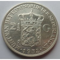 """Нидерланды 2,5 гульдена 1932 """"Королева Вильгельмина (1880-1962)"""""""