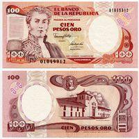Колумбия. 100 песо оро (образца 07.08.1991 года, P426A, UNC)