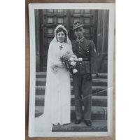 Свадебное фото немецкого военнослужащего. 9х14 см