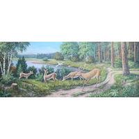 Картина маслом 29 олени 60х150