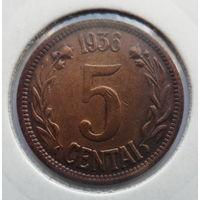 """Литва 5 центов 1936 """"Герб"""" (редкость)"""