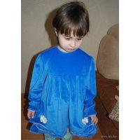 Красота голубая. Бархатное платье для принцессы до 4 - 5 л