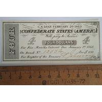 Конфедеративные Штаты Америки 4 доллара , февраль 1863 г. (односторонние)