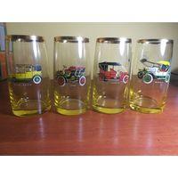 Коллекционные стаканы с изображением ретро автомобилей,  на свету переливаюися в золотой цвет, 50-60е гг. СССР.