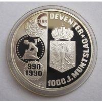 Нидерланды, экю, 1990, серебро, пруф