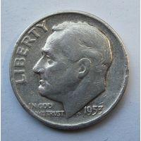 США, дайм, 1952 D , серебро