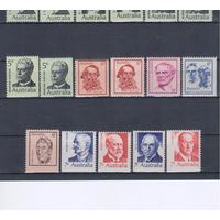 [778] Австралия 1969-72. Стандартный выпуск.Известные люди. 17 чистых марок с разовидностями зубцовки.