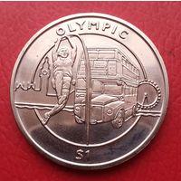 1 доллар 2012 г. Сьерра-Леоне. Олимпиада, прыжки в высоту с шестом, двухэтажный автобус, Биг-Бен, Лондон.
