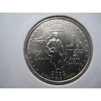 США КВОТЕР 2003 ГОД  ИЛЛИНОИС В ХОЛДЕРЕ СОСТОЯНИЕ !!!