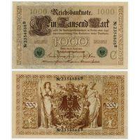 Германия. 1000 марок (образца 1910 года, P45b, зелёная печать, XF)
