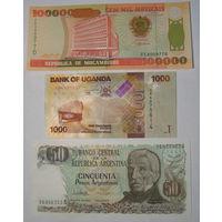Мозамбик 100000, Уганда 1000, Аргентина 50