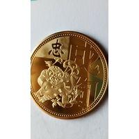 """Китай сувенирная монета """"Год собаки"""" позолота. 38 мм. распродажа"""