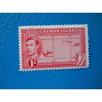 Каймановы о-ва. 1938 г. Мi-102. Георг VI. Карта.