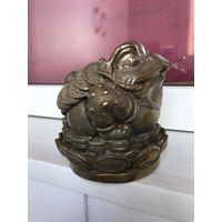 Большая денежная жаба на лотосе Фэн-Шуй Талисман Латунь/Бронза посеребрение Клеймо