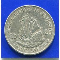 Карибские острова Карибы 25 центов 2000