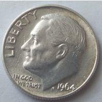 США 10 центов 1964 года. Серебро.