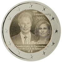 2 евро 2015 г. Люксембург 15 лет вступлению на престол Великого герцога Анри.UNC из ролла