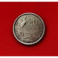 49-25 Франция, 20 франков 1951 г.  (м. д. B - Бомон-ле-Роже)