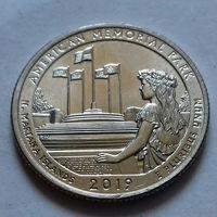 25 центов, квотер США, мемориальный парк Северные Марианские острова, D