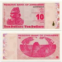 Зимбабве. 10 долларов (образца 2009 года, P94, UNC)