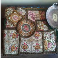 Старые декоративные салфетки коврики Цветовая гамма ажурная окантовка металлическая нить 10 шт. одним лотом
