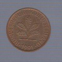 1 пфенниг Германия (ФРГ) 1991 F_Лот 1465
