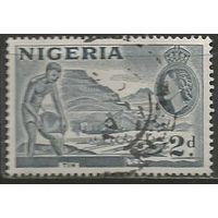 Нигерия. Королева Елизавета II. Добыча олова. 1953г. Mi#75.