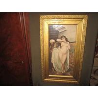 НЮ.Старинная гравюра офорт с дорисовкой Работорговец худ FABIO FABBI.Gravure Hanfstaengl1930-е.г