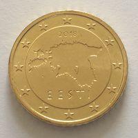 50 центов 2018 Эстония UNC из ролла (тираж всего 500.000)