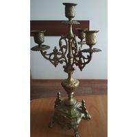 Подсвечник старинный на 4 свечи, 37 см, бронза, тяжелый