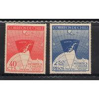 Чили Антарктика карта 1947 год чистая полная серия из 2-х марок