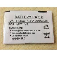 Новый аккумулятор 500 maH 3.7В. Motorola V3, V3i, U6. Литий-ионный. Батарея АКБ. 500maH маЧ, 3.7 V В