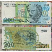 Распродажа коллекции. Бразилия. 200 крузейро 1990 года (P-229 - 1990-1993 ND Regular Issue)