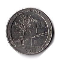 США. 1/4 доллара (1 квотер, 25 центов). 2013. Форт Мак-Генри. D