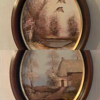 Картина Глухари Дом на реке Масло Живопись Англия винтаж 2 шт