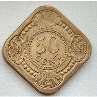Нидерландские Антильские острова 50 центов, 1989 1-2-5