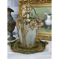 Антикварная Красота С рубля! фонарь на одну светоточку в стиле ренессанс Франция Стекло Золочение