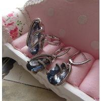 Замечательный нежно-голубой комплект Серьги Кольцо Р-р 19