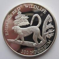Бутан. 30 нгултрум 1992. Обезьяна. серебро (4)