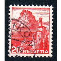 Швейцария, почтовая марка, 1936 год, номинал 20с, SG#375A (*9)