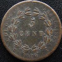 YS: Французские колонии, 5 сантимов 1829, KM# 10.1