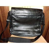 Большая мужская деловая сумка-мессенджер из натуральной кожи Италия
