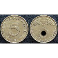 YS: Германия, Третий Рейх, 5 рейхспфеннигов 1937E, КМ# 91