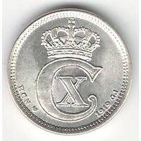Дания 10 оре 1919 года. Серебро. Каталог Краузе KM# 818.2. Состояние UNC!