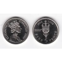 Гибралтар 5 пенсов 2004 300 лет под Британией де факто UNC