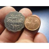 Багамы 1 цент 2009 и 10 центов 2000 г.