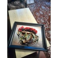 """Интерьерная объемная картина из кожи""""Тюльпаны в вазе"""" в чёрной деревянной раме 55х65 Польша"""