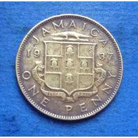 Ямайка Британская колония 1 пенни 1937 Георг VI тип 1